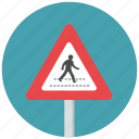 pedestrian, pedestrian crossing, reduce speed, speed, traffic sign, warning, warning sign icon