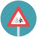 caution, danger, loose clippings, traffic sign, warning, warning sign icon