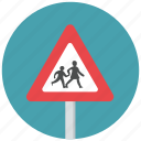children, pedestrian, reduce speed, school, traffic sign, warning, warning sign icon