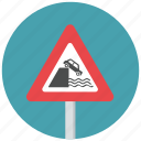 caution, danger, quayside, quayside ahead, riverbank, traffic sign, warning icon