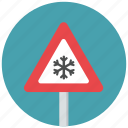 danger, ice, icy, slippery, traffic sign, warning, warning sign icon