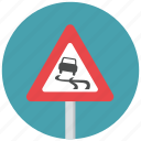 caution, danger, icy, slippery, slippery ahead, slippery road, warning icon