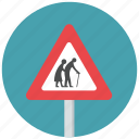 blind, caution, crossing, disabled, elder, frail, reduce speed icon