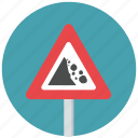 caution, danger, fallen rocks, falling rocks, rocks, warning, warning sign icon
