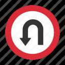 traffic sign, u turn, warning, warning sign icon