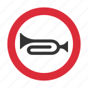 horn, traffic sign, warning, warning sign icon