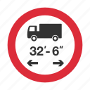 length, length limit, traffic sign, truck length, vehicle length, warning sign icon