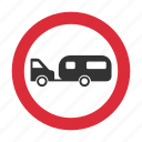 caravan, tow, tow away, towed caravan, traffic sign, warning sign icon