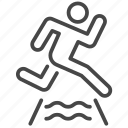 cross, obstacle, river, run, running, sport, trail icon
