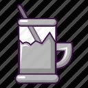 cartoon, cup, glass, metal, retro, tea, water