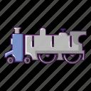 cartoon, locomotive, old, retro, silhouette, star, steam