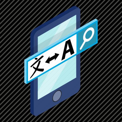 concept, internet, isometric, monitor, smartphone, translation, translator icon