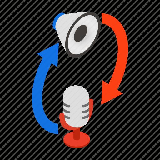 communication, isometric, megaphone, microphone, speaker, talk, translation icon