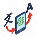 concept, internet, isometric, monitor, smartphone, translation, translator icon