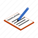 book, document, isometric, page, paper, text, translation icon