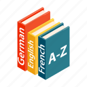 book, dictionary, isometric, knowledge, language, read, school icon