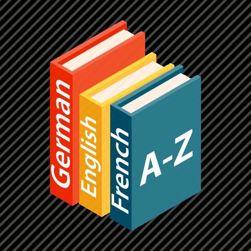 book, dictionary, isometric, knowledge, language, read, school icon