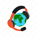 concept, globe, headphones, international, isometric, language, translate icon