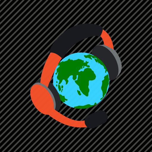 concept, globe, headphones, international, isometric, language, translate icon