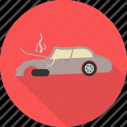 accident, broken car, car, crash, engine, transport, vehicle icon