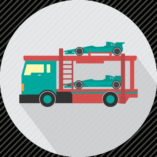 car, car transporter, delivery, road, transport, transporter, vehicle icon