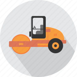 asphalt, builder, compactor, industry, machine, transport, vehicle icon