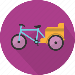 pedicab, tourism, traditional, transport, tricycle, vehicle, vintage icon