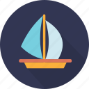 boat, ocean, sailing, sailing boat, sea, ship, transport icon
