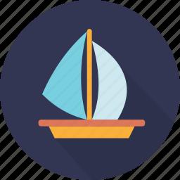 boat, ocean, sailing, sailing boat, sea, ship, transport icon