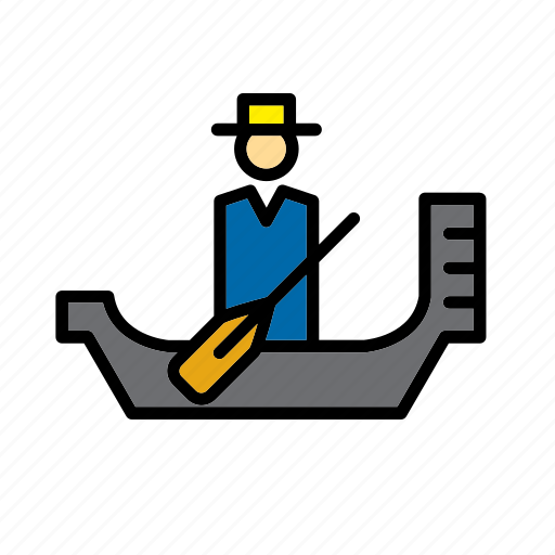 barque, canoe, gondola, gondolier, italy, transport, venice icon