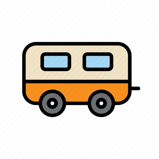 camping, caravan, outdoor, roulot, transport, vacation icon
