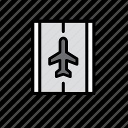 aeroplane, airplane, airport, landing, runway, transport, travel icon
