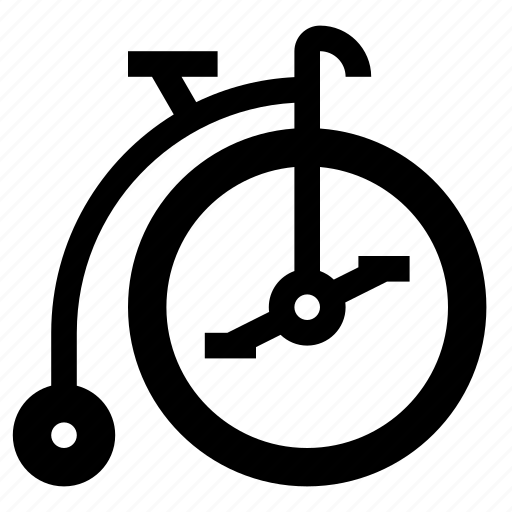 bicycle, bike, high wheel, old, penny farthing, retro icon