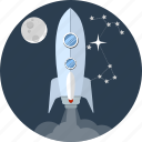 booster, energy, launch, moon, rocketship, space, spaceship icon