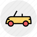 auto car, automobile, hatchback, open roof car, roofless car, sport car, two door car icon