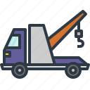 automobile, breakdown, tow truck, transport, transportation, truck, vehicle icon