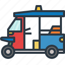 car, city, thailand, transport, transportation, travel, tuk tuk icon