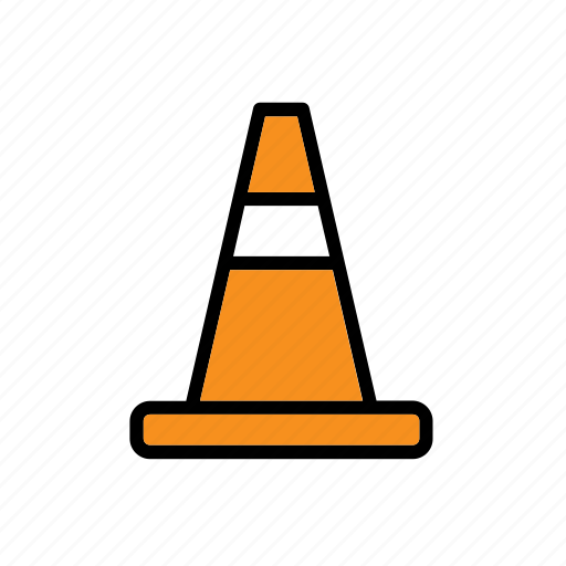 cone, orange, sign, traffic icon