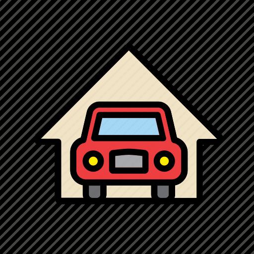 auto, automobile, car, garage, home, house, repair shop icon