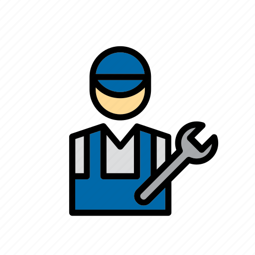 auto, car, garage, man, mechanic, mechanic's, repair shop icon