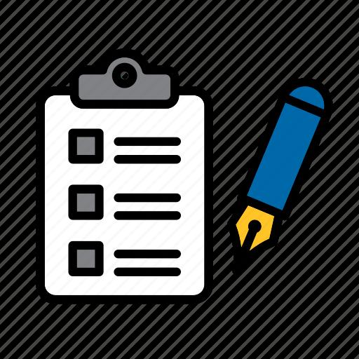 check, checklist, fountain pen, inventory, list, paper icon