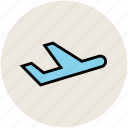 air departure, airplane, airport, plane, take off, transport, travel icon