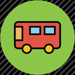 autobus, bus, motorbus, motorcoach, passenger vehicle, public transport. icon