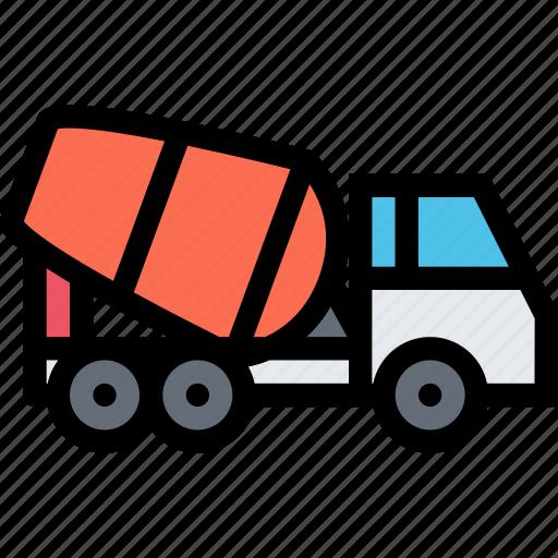 car, concrete, logistics, machine, mixer, transport, transportation icon
