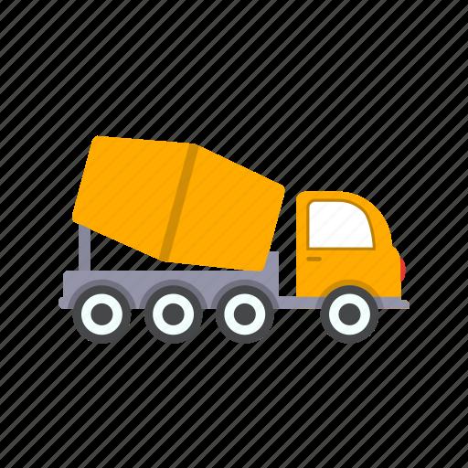 concrete mixer, construction, heavy work, truck icon