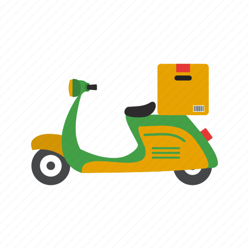 bike, box, courier, delivery, motorbike, pizza, scooter icon