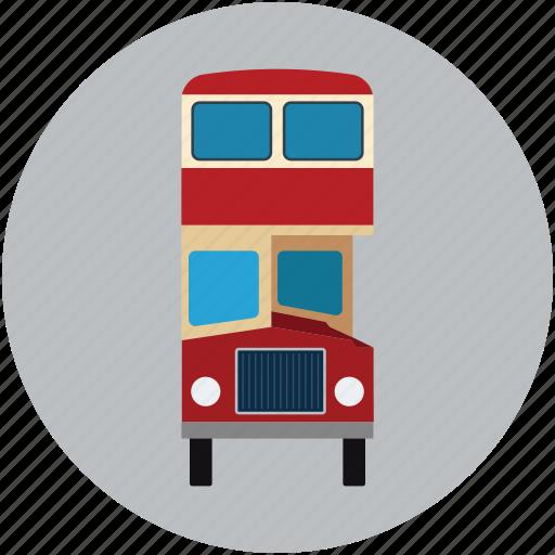 autobus, bus, double decker, double decker bus, transport, vehicle icon