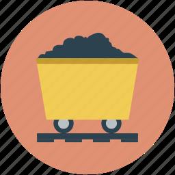 coal mine trolley, gold mine, mine cart, mine charioti, mining cart icon