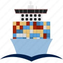 boat, cargo, container, flat, ocean, ship, shipping