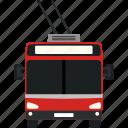 city, flat, transport, transportation, trolley, trolleybus, urban icon